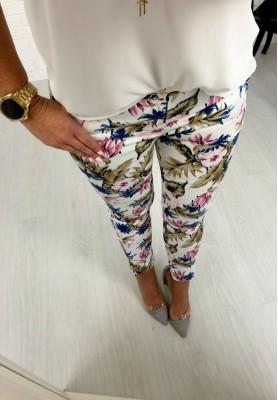8865 Spodnie Cygaretki  Havana White