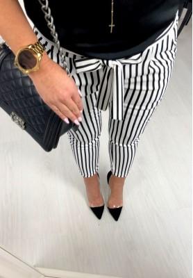 Spodnie Paski Street White