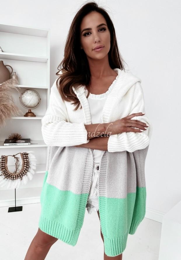 Sweter Kardigan Cocomore Tersia Grey&Mint