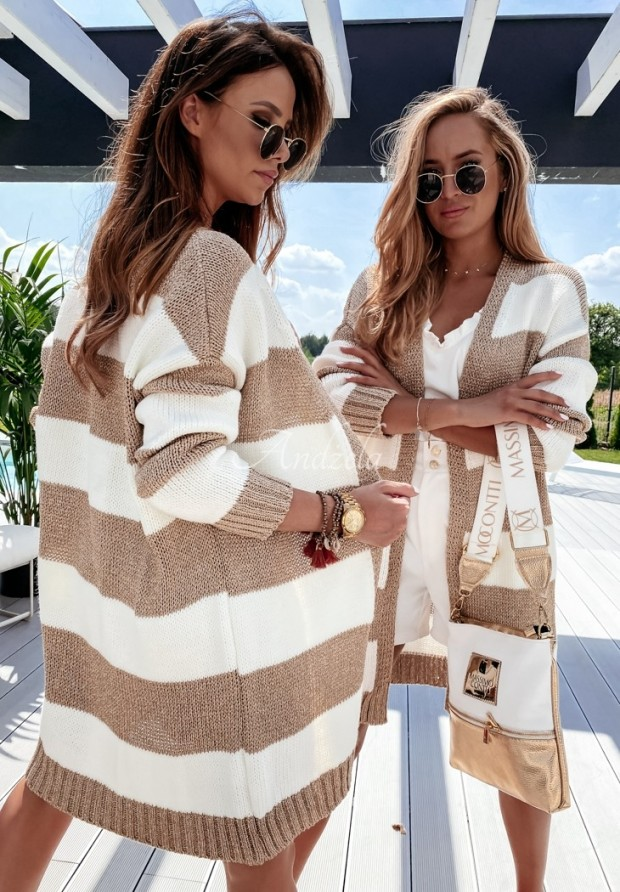 Sweter Kardigan Sparkle White&Gold