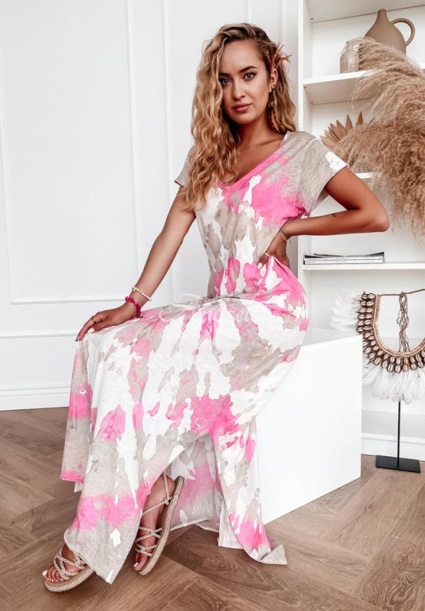 Sukienka Lonnel Tie Dye Pink&Beige