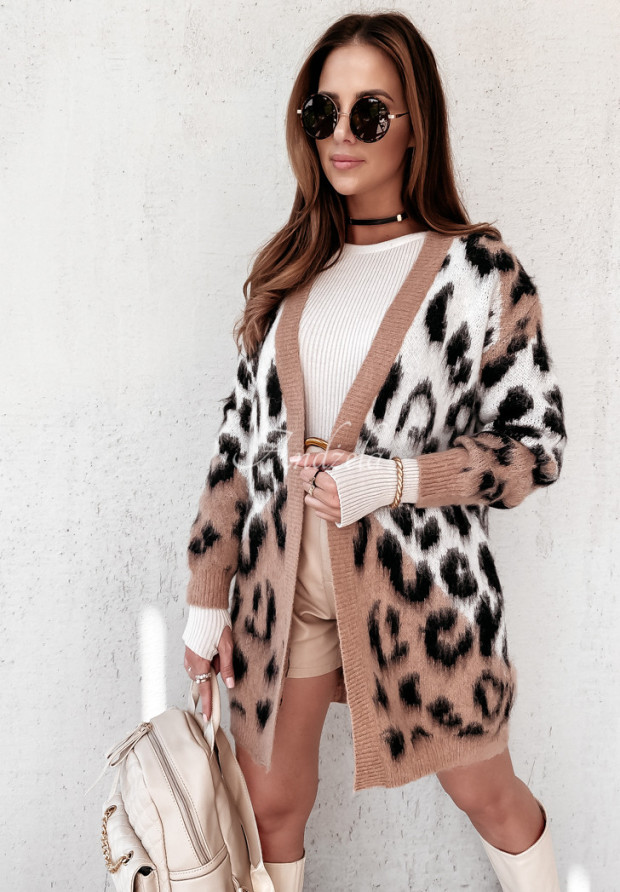 Sweter Kardigan Panter Sally Camel