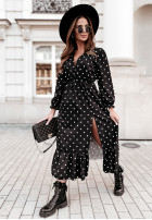 Sukienka Andrea Long Groszki Black