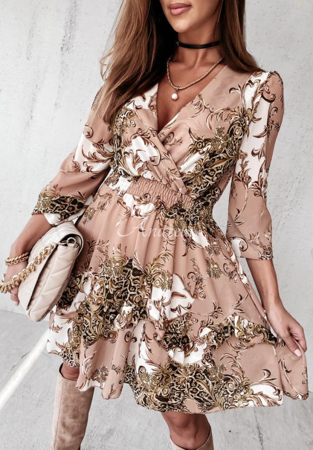 Sukienka Tallima Beige&White