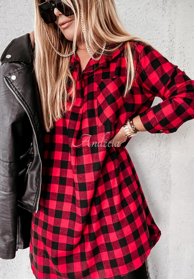 Sukienka Koszula Krata Adana Red&Black