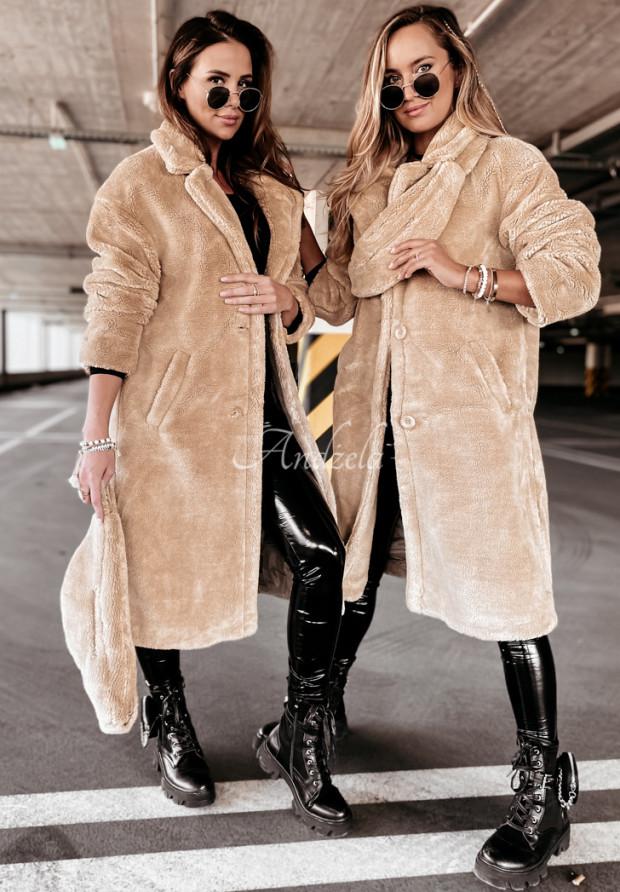 Płaszcz Kożuch z Nerką Furry Beige