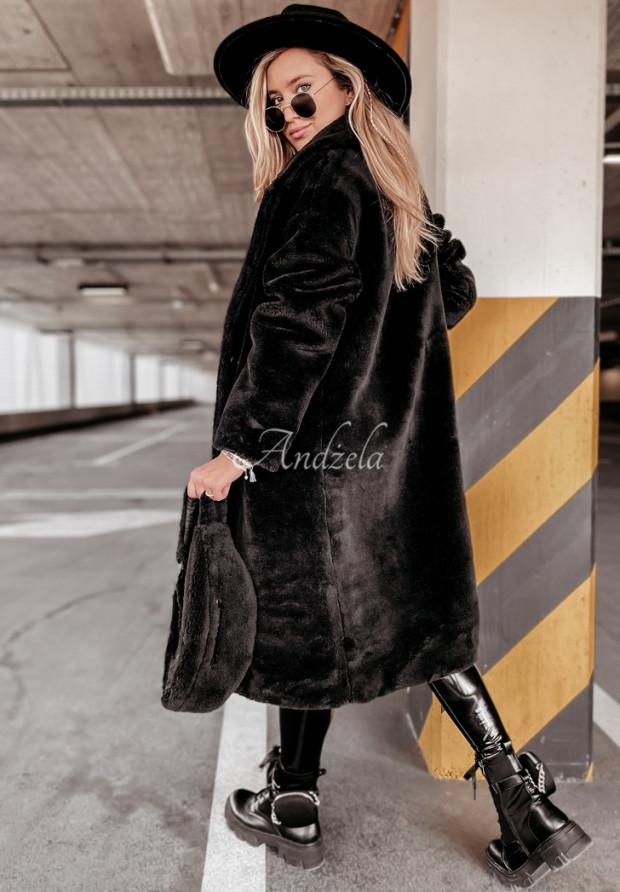 Płaszcz Kożuch z Nerką Furry Black