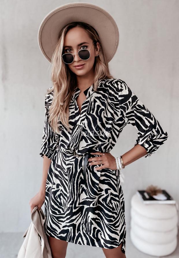Sukienka Sybille Zebra Black&Ecru