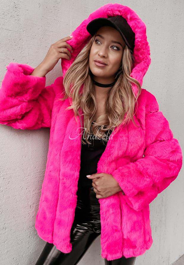 Kurtka Futro Ashley Neon Pink
