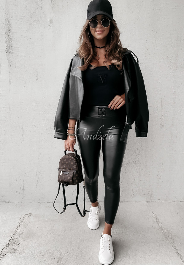 Spodnie Woskowane Velsatino Lia Black