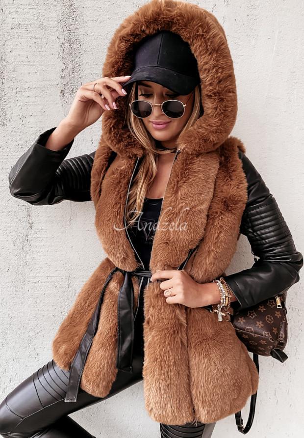 Płaszcz Futro Arvel Black&Camel