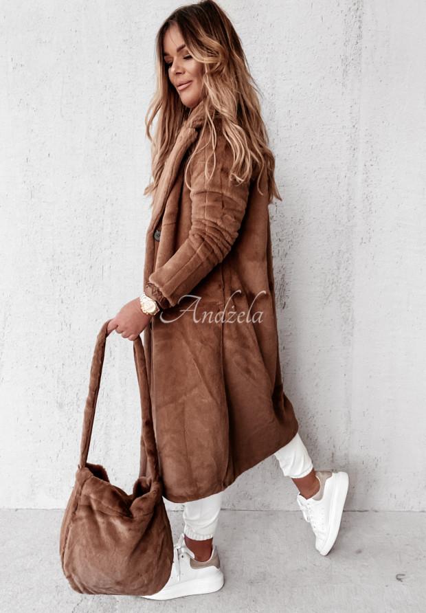 Płaszcz Futro z Torebką Calm Camel