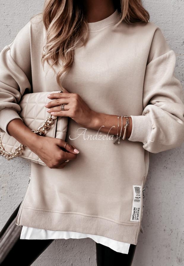 Bluza People Beige&White