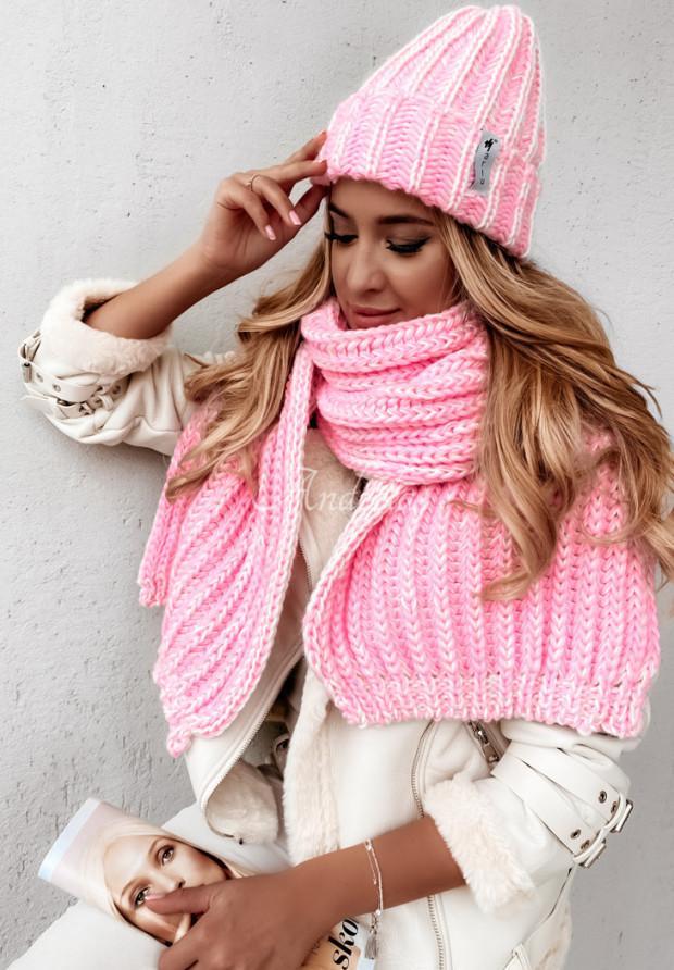 Szal Snowflake Pink&Ecru