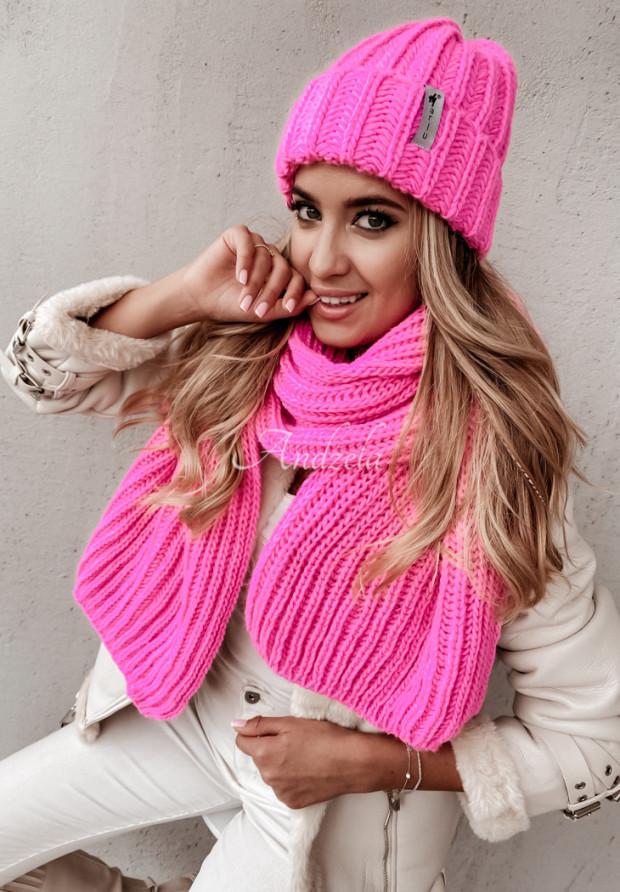 Szal Snowflake Neon Pink