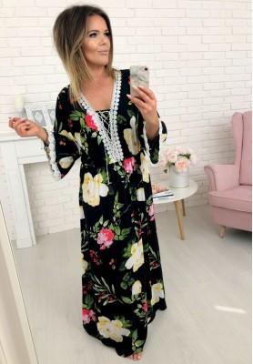 73629 Sukienka Maxi Flores Czarna