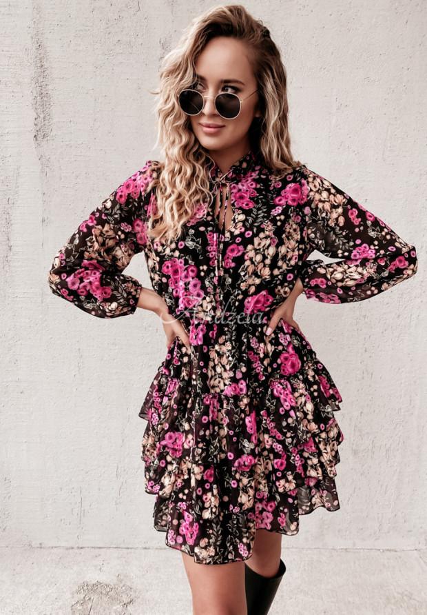 Sukienka Ardenn Flora Black&Pink
