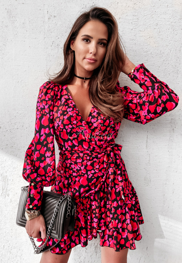 Sukienka Asla Panter Hearts Pink&Red