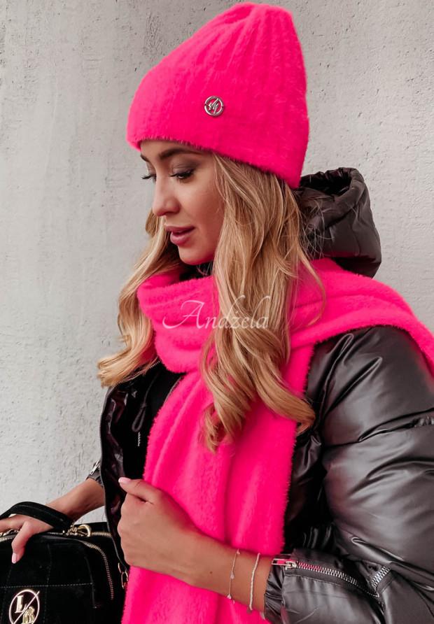 Czapka Alpaka Snowball Neon Pink