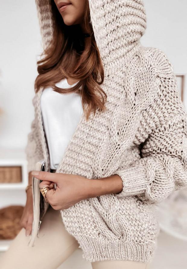 Sweter Kardigan Hoods Beige