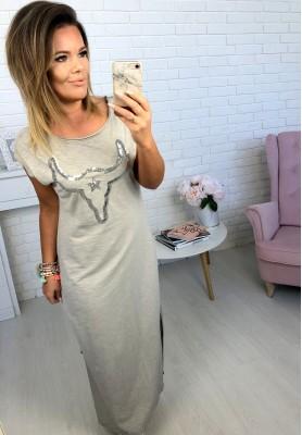 Sukienka Maxi Denim Szara