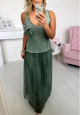 Sukienka Maxi Jedwab Khaki