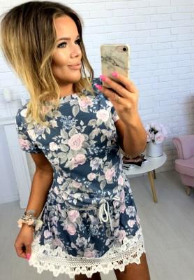 Sukienka Flowers Lace Granat
