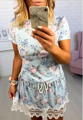 Sukienka Flowers Lace Błękit