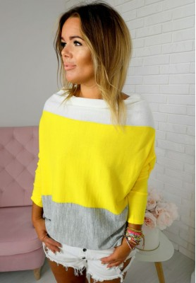2512 Sweter Tricolor Yellow