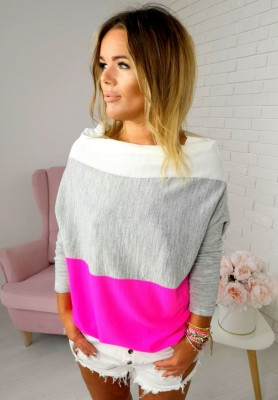 2512 Sweter Tricolor Pink