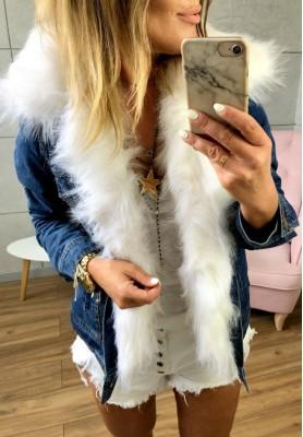 622 Kurtka Jeans Futro Białe