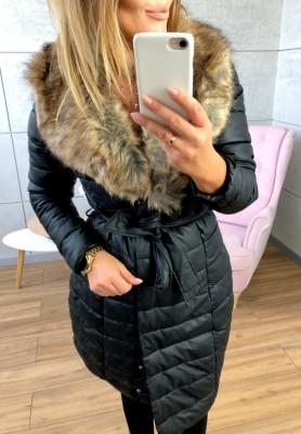 18058-2 Płaszcz Leather Czarny z Naturalnym