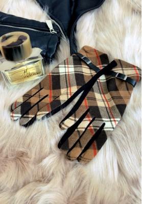Rękawiczki Kratka Greta Camel