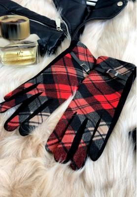 Rękawiczki Kratka Greta Czerwone