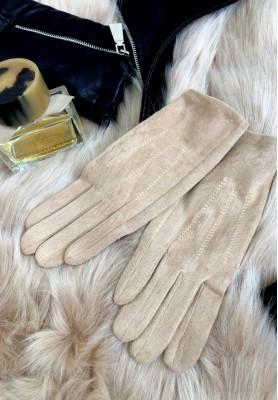 Rękawiczki Zamsz Beż