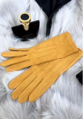 Rękawiczki Zamsz Musztarda