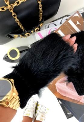 1423 Rękawiczki Fur Czarne