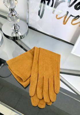 Rękawiczki Zamszowe Długie Musztarda
