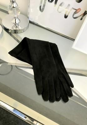 Rękawiczki Zamszowe Długie Czerń