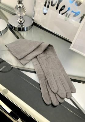 Rękawiczki Zamszowe Długie Szarość