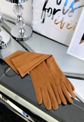 Rękawiczki Zamszowe Długie Camel