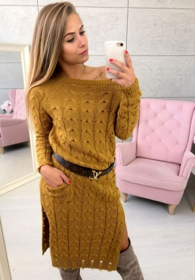 Sukienka Sweter Inez Musztarda