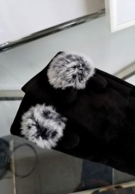 Rękawiczki Pompon Czerń
