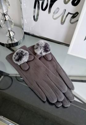 Rękawiczki Pompon Szarość