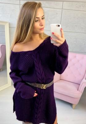 Sukienka Sweter Legendary Śliwka