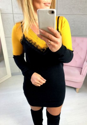 J1023 Sukienka Fede Musztarda