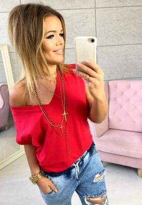 T-shirt V-neck Czerwień
