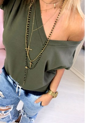 T-shirt V-neck Khaki
