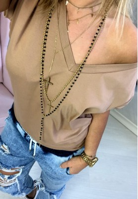 T-shirt V-neck Camel