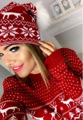 Czapka Christmas Festive Czerwień